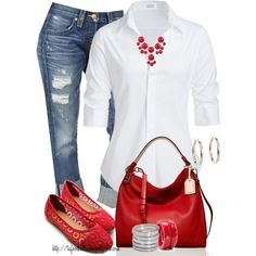 #spring #outfits / Broadcloth Shirt + Red Flats