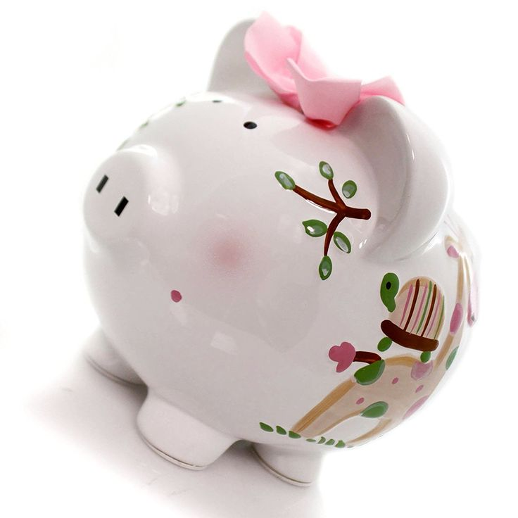 """Amazon.com: Completely Custom {8"""" x 7.5"""" Inch} 1 Single Large, Coin & Cash Bank Decoration for Holding Money, Made of Grade A Genuine Ceramic , My Girly Tropical Fun Piggy Style {White, Pink, & Black}: Home & Kitchen"""