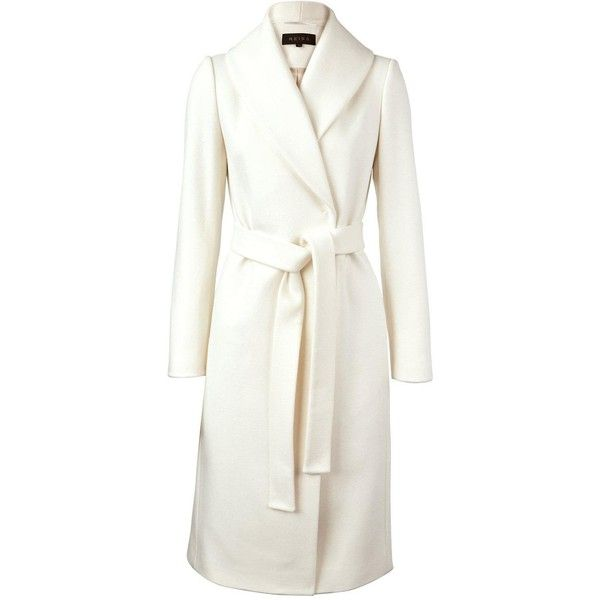 Reiss Enna Luxury Long Wrap Coat (£276) ❤ liked on Polyvore featuring outerwear, coats, jackets, off white, belted coat, long coat, belted wrap coat, lapel coat and wrap coat