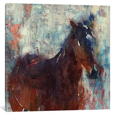 """East Urban Home Wild Horse Painting Print on Wrapped Canvas Size: 18"""" H x 18"""" W x 0.75"""" D"""