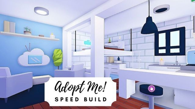 Adopt Me Aesthetic Blue And White Living Room And Kitchen Speed Build In 2020 Sims House Design Cute Room Ideas House Roof