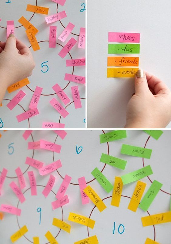 Make a seating chart in a flash with color-coded sticky notes. | 19 Wedding Planning Hacks That Will Save You So Much Time And Money #weddingplanninghacks