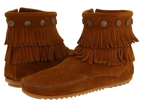 Minnetonka Double Fringe Side Zip Boot. Verify heel drop and insole.