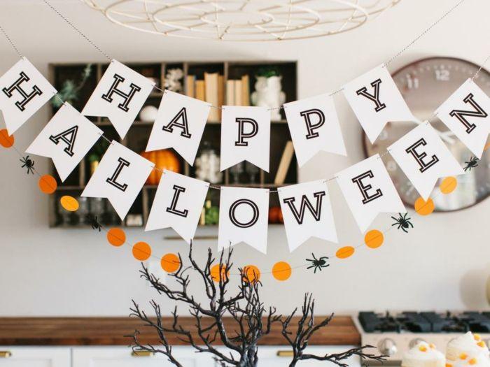 Happy Halloween Girlande selber basteln, Deko Ideen für Kinder und Erwachsene