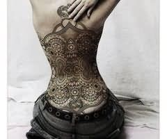 Amazing Corset Tattoo On Back