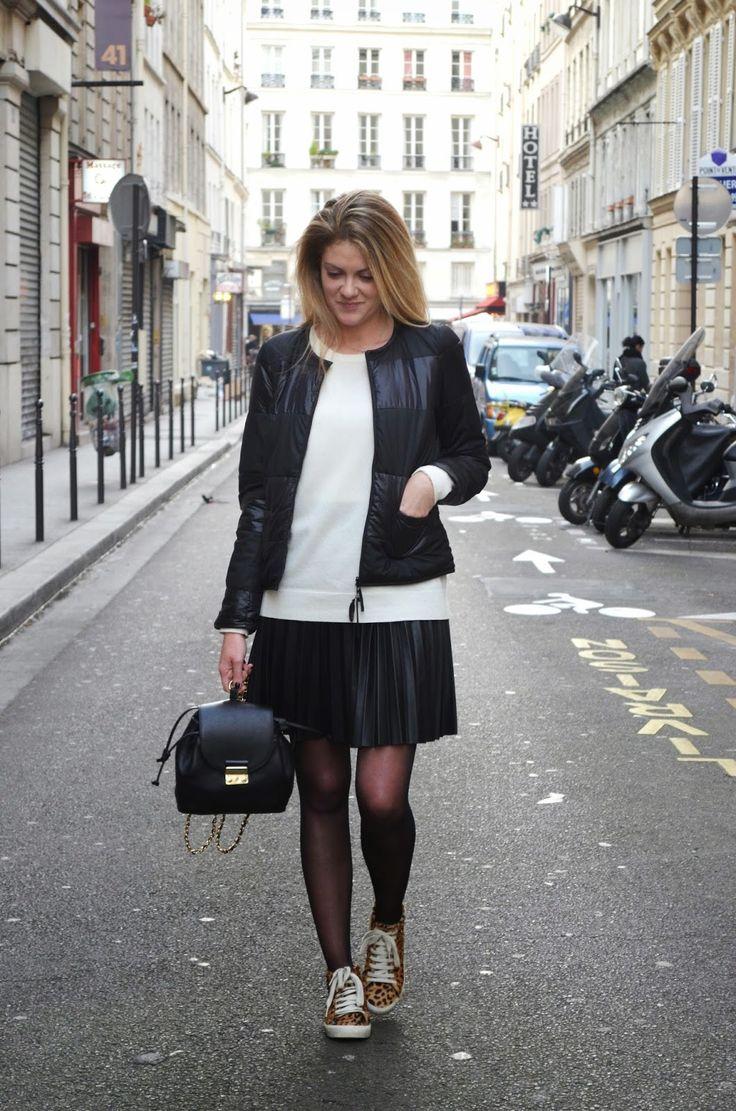 BabyModeuse: Fast Shopping Doudoune Mademoiselle Plume Silknit COMPTOIR DES COTONNIERS - Pull UNIQLO - Skirt ZARA - Leo Sneakers ZARA - Little Backpack ZARA -