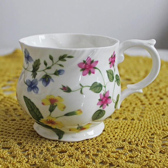 Queen's China Country Meadow pattern vintage mug