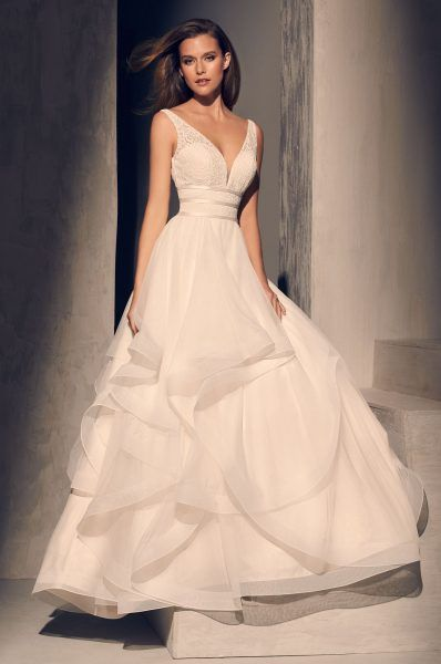 Textured V-neck Bodice Ruffle Skirt Ball Gown Wedding Dress by Mikaella – Image …