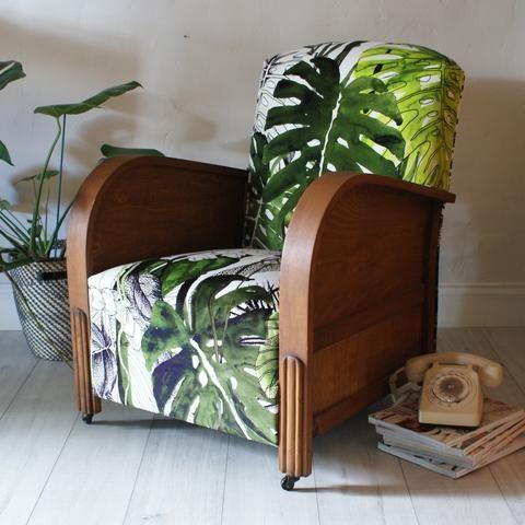 1920s British Made art deco club armchair, reupholstered in Christian Lacroix Jardin Exo'chic botanical jungle velvet