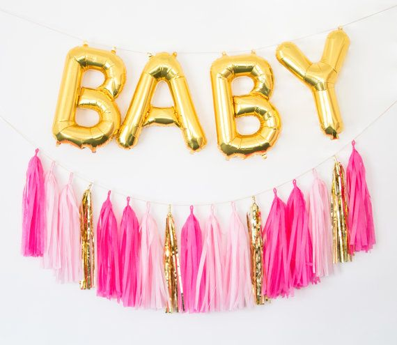BABY GIRL Gold Letter Balloons and Custom Tassel Garland  baby shower decor, baby shower banner, birthday party banner, gold mylar balloons
