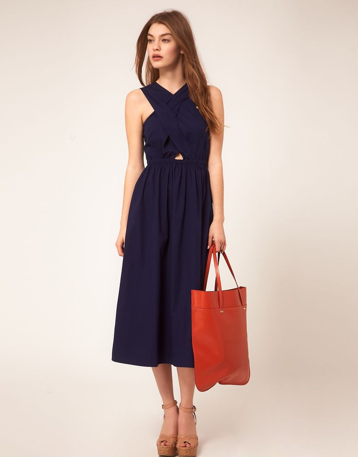 summer dress: Midi Dresses, Summer Dresses, Beautiful Summer, Clothing Style, Cute Dresses, Clothing Collection, Cute Summer Outfits, Straps Bodice, Crosses Straps