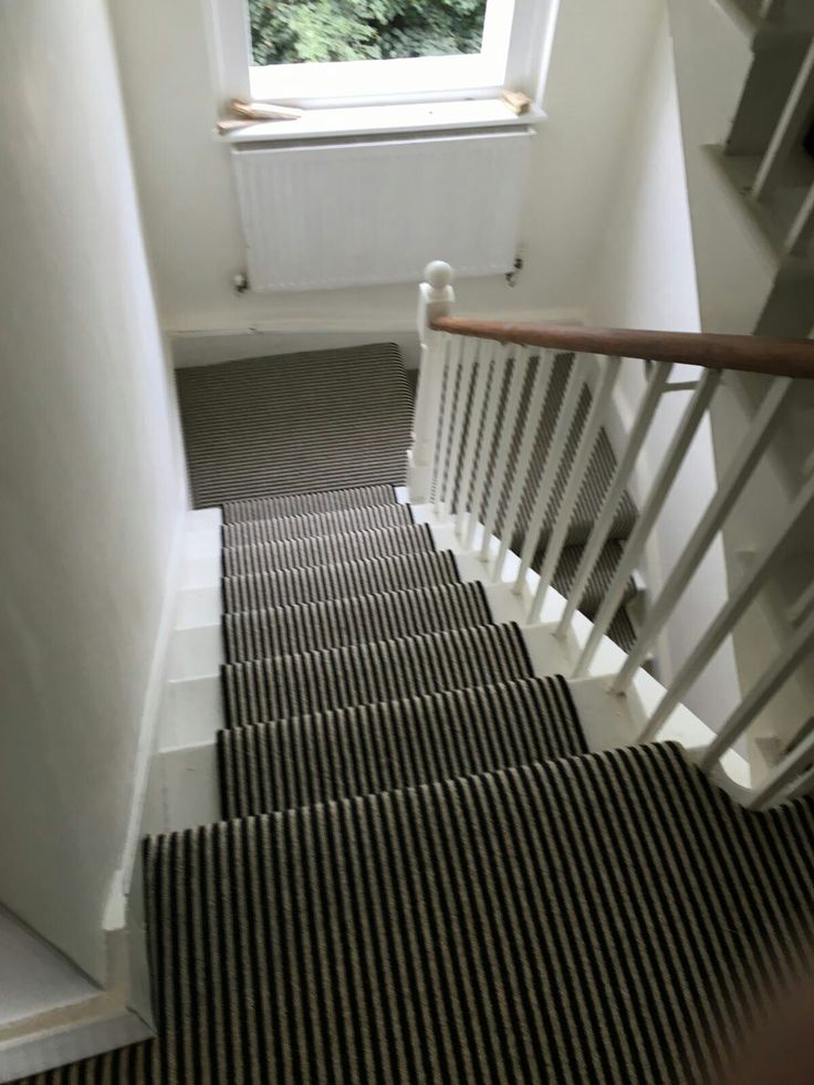 Black And White Striped Stair Runner In Camden