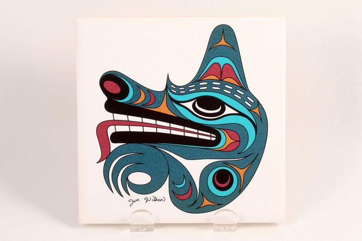 Native Coast Salish Signed Art Tile Trivet by Joe Wilson Ceramic Wolf Plaque