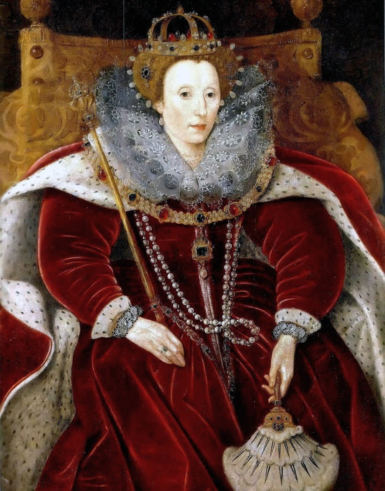 Queen Elizabeth I - This is a portrait not often seen.  The red velvet gown and cape would have been fabulously expensive in Elizabeth's time, a vivid reminder to all who saw this portrait of her status and importance.