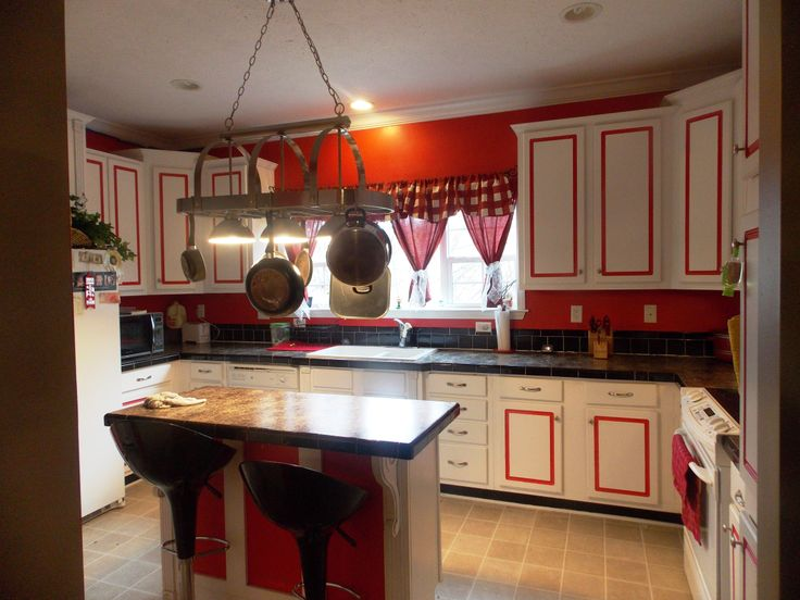 Red white kitchen with black accents for the home - White kitchen red accents ...