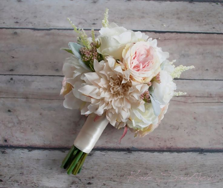 Blush Pink and Ivory Garden Rose Dahlia and Peony Wedding Bouquet - Bridemaids Bouquet by Kate Said Yes Weddings - Silk Wedding Bouquet