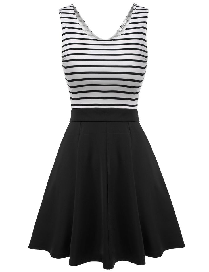 Black Sleeveless Striped Back Hollow Patchwork Casual Dress