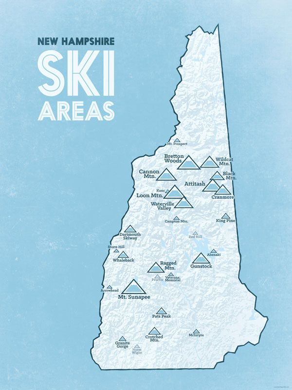 New Hampshire Ski Resorts Map 18x24 Poster from Best Maps Ever