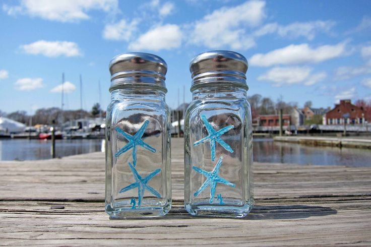 Nautical Theme Teal Starfish - Hand Painted Salt & Pepper Shakers 'New England Decor/Beach Cottage/Nautical Kitchen/Beach Gift Basket' by PaintedbytheShore on Etsy https://www.etsy.com/listing/230788982/nautical-theme-teal-starfish-hand