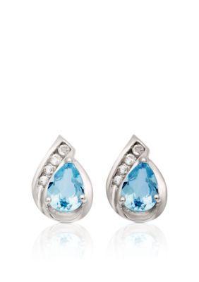 Belk  Co. Blue 10k White Gold Blue and White Topaz Earrings  br