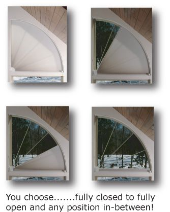 Arched Window Treatments, ADJUST-A-VIEW Moveable Arches by Omega, Moveable Arched Window Treatments for Half and Quarter Circle Windows: Quarter Circle