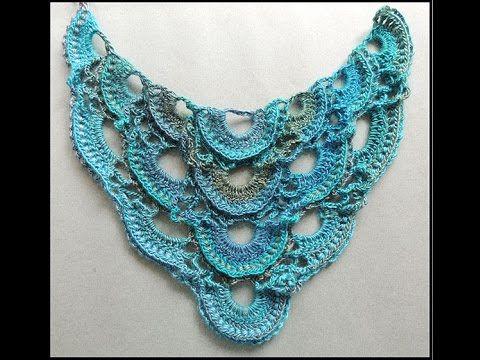 chal triangular tejido a crochet paso a paso: punto hojas en relieve - YouTube