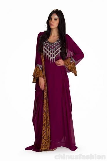 Rida Purple Chiffon and Brasso Gown Style Kaftan