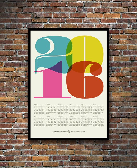 Digital print. Large 50 x 70 cm size 19.7 x 27.6 inches  A colourful and bold Mid Century Modern inspired 2016 calendar to brighten your home or office