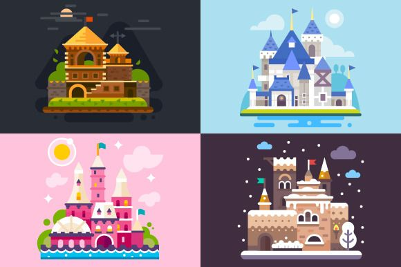 Four Awesome Fairytale Castles! by TastyVector on @creativemarket