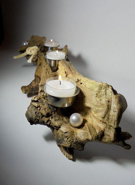 """Teelichthalter - Teelichthalterr Wurzelholz """"Dreifach"""" - ein Designerstück von Wurzelkoenigin bei DaWanda"""