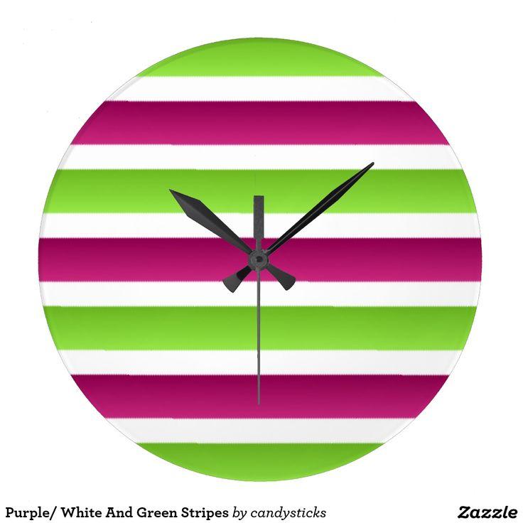 Purple/ White And Green Stripes Wall Clocks