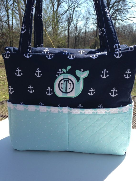 Custom Nautical Diaper Bag with Whale applique by CraftyJuJu