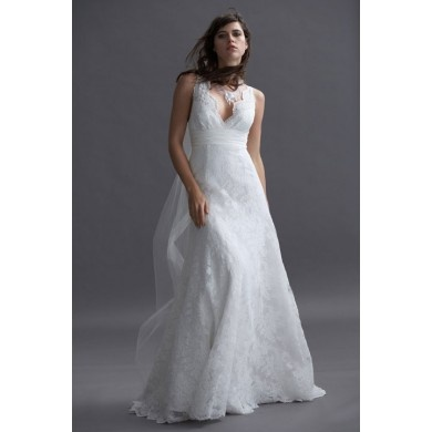 V Neck A Line Wedding Dress Liking The Cut
