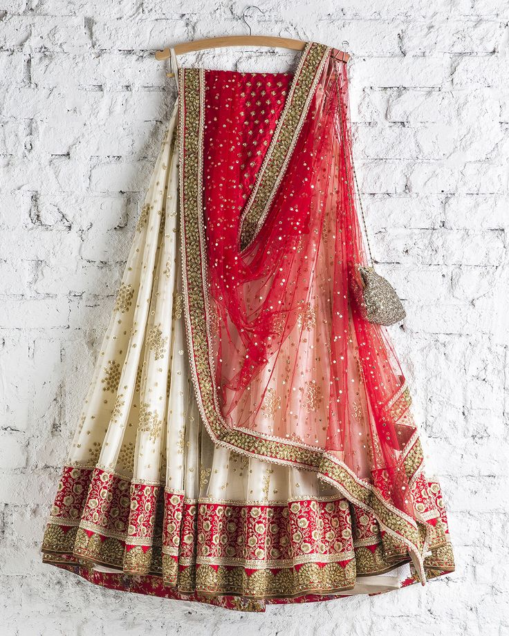 SwatiManish : Pearl White Lehenga with Kumkum Red dupatta
