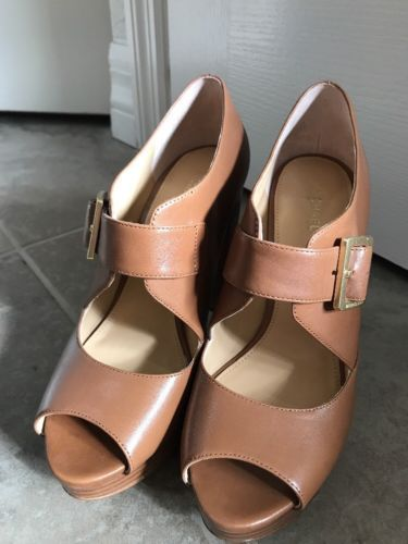 9f95b9c06e4 NWOB Michael Kors Eleni Leather Platform Shoes Heels Size 7 Luggage Orig   165