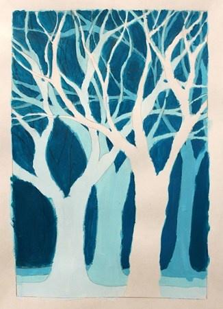 Artsonia Art Museum :monochromatic tree painting