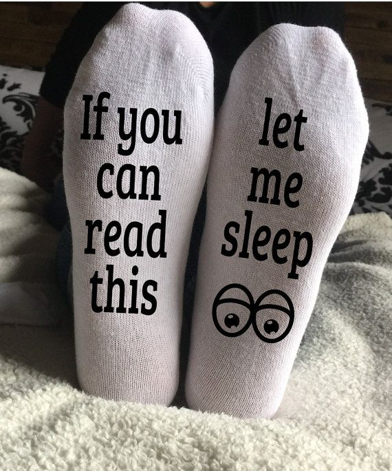 If you can read this let me sleep socks. Funny socks. by KaryBellA