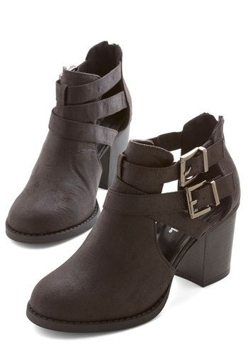 Adventure Essentials Bootie in Black - Mid, Faux Leather, Black, Solid, Buckles, Cutout, Chunky heel, Variation