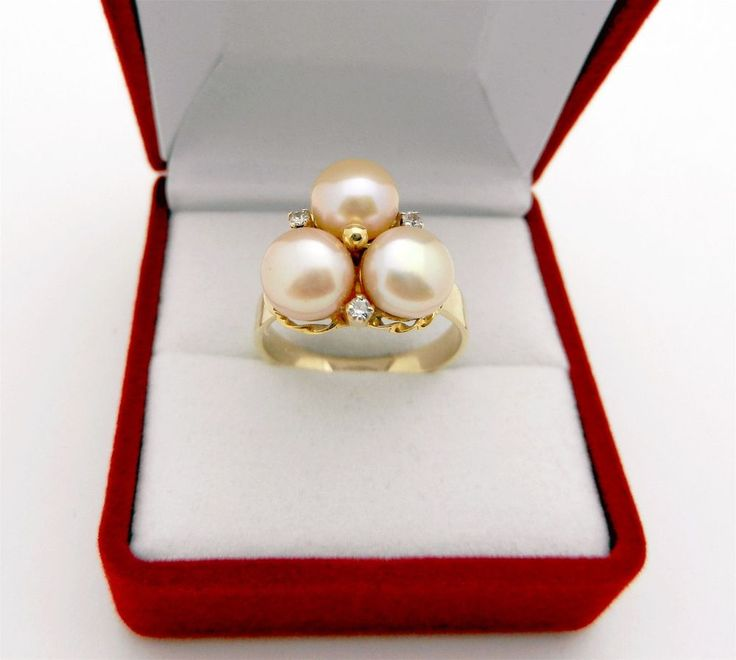 Gorgeous 14k Yellow Gold Triple Natural Pearls Diamond Accent Ring 4.7 grams  #Unbranded #Cluster