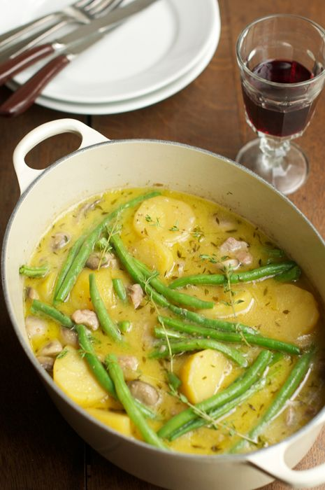 Braised Chicken with Mushrooms, Potatoes & Thyme.  Recipe sounds great until the addition of cream. Will sub that with something healthier.