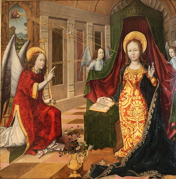 Jacquelin de Montlucon - Annunciation (c. 1496/7).  We sing Nicholas Gombert's Ave Maria, the words spoken by the Angel Gabriel.  The prayer ends with a plea for the Virgin's intercession.  File:Annunciation-Jacquelin de Montlucon-MBA Lyon-IMG 0239.jpg
