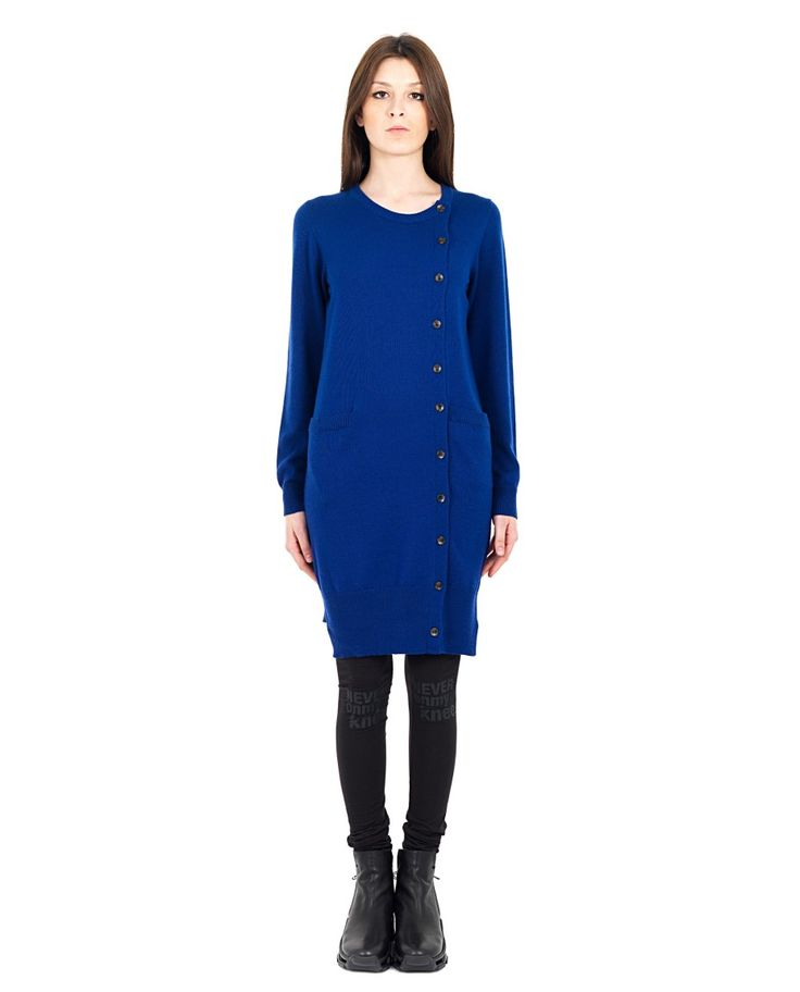 MARIOS Long blue cardigan  round neckline long sleeves two side pockets closing cross with buttons 100% WM