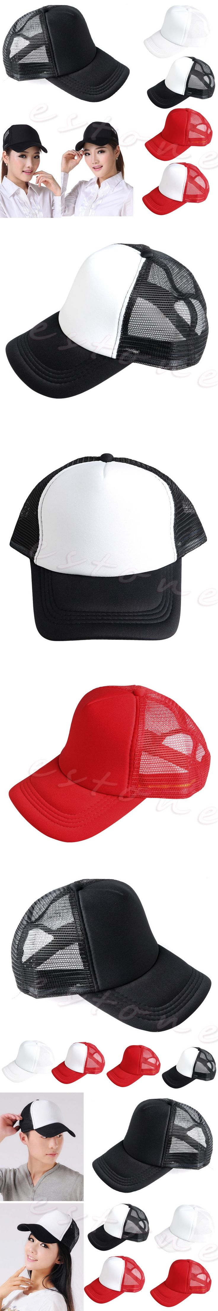 Unisex Plain Adjustable Blank Curved Visor Hat Solid Trucker Mesh  Baseball Cap