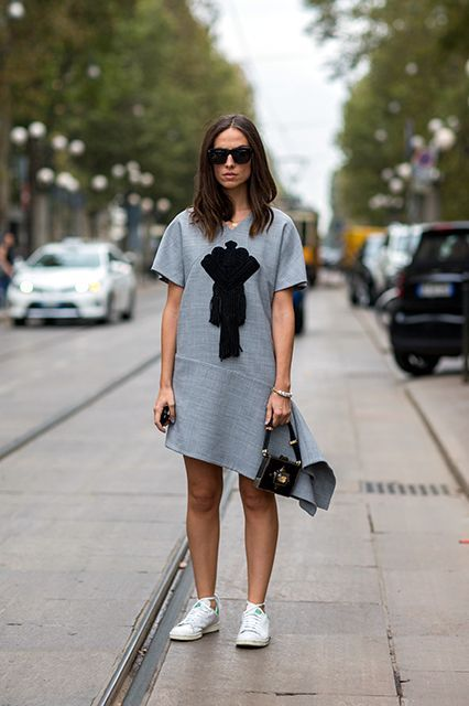 6 Different Ways A Throw-On-And-Go Dress Can Go #refinery29  http://www.refinery29.com/spring-dresses-street-style#slide-2  An avant-garde T-shirt dress is comfortable and crazy-chic. They're meant to go with sneakers, too, which gives them even more easy appeal.