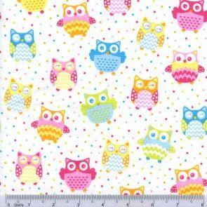 Gelati Owls Allover Owls fabric - White Cute little owls sprinkled on a white background Designer - Sugar & Spice $4.00 #owlfabric #australianfabric #sugar&spice