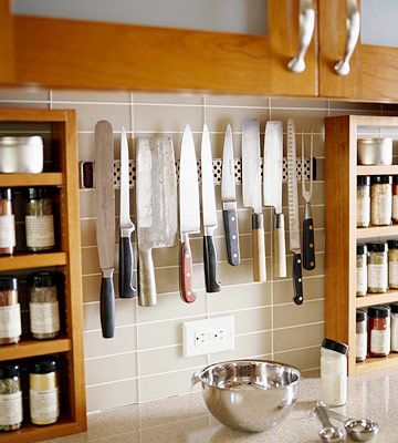 30 Organization Tips, Tricks And Ideas That Will Make You Go Ah Ha! Use A  Magnetic Strip To Organize Your Knives. Saves Drawer And/or Counter Space! Part 95