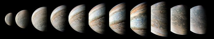 This sequence of color-enhanced images shows how quickly the viewing geometry changes for NASA's Juno spacecraft as it swoops by Jupiter. The images were obtained by JunoCam.