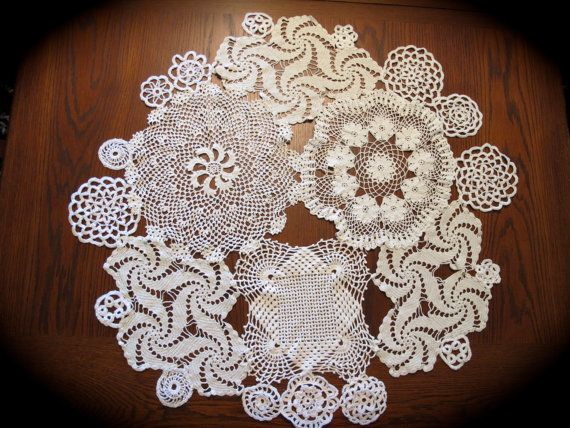 "White doilies lace round table topper for weddings - 30"" diameter"