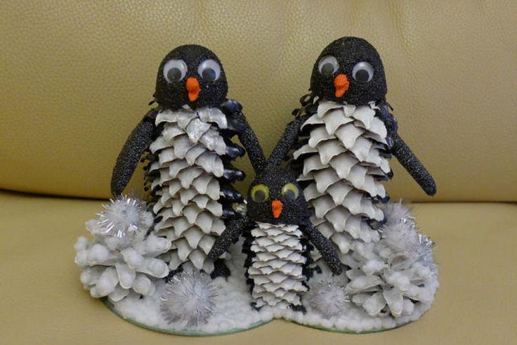 поделки из шишек,детские поделки,поделки из природного материала,поделки с детьми,игрушки из шишек,пингвины из шишек