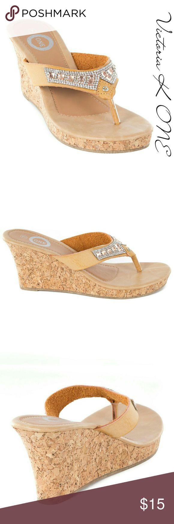 """Tory K Women Wedge Thong Sandals, HW-2082, Khaki From the ONE collection by Tory Klein, a beautiful sparkle - studded high platform thong woman sandal. Padded sole, platform measures 4"""", true to size. New in box. A true statement in ladies shoe fashion! Victoria K  Shoes Sandals"""